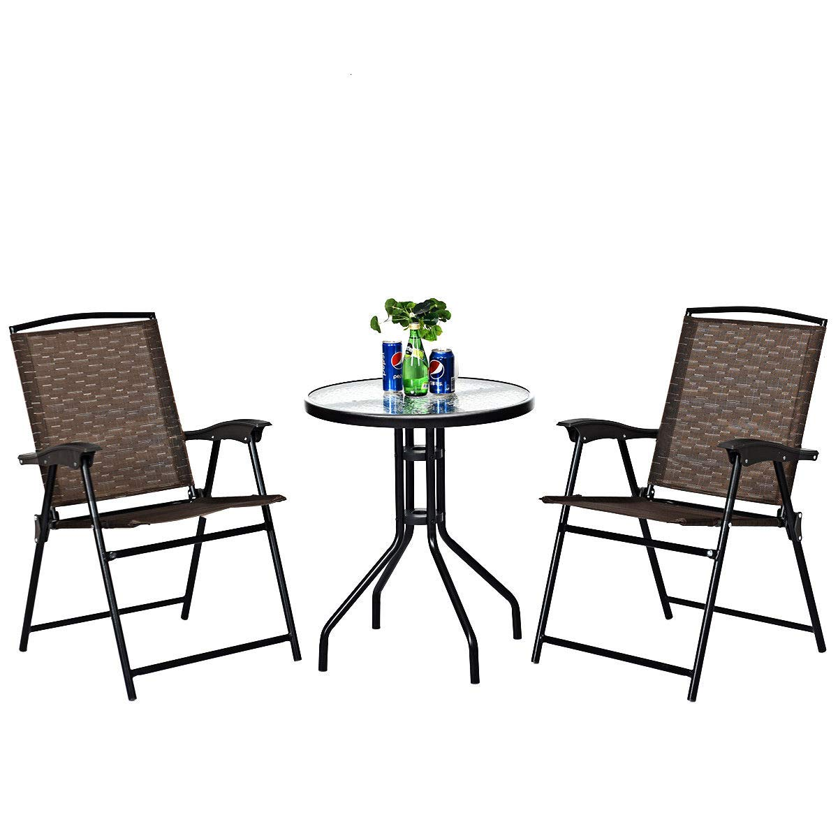 Goplus 3 Piece Bistro Set Outdoor Patio Furniture Garden Round Table and Folding Chairs