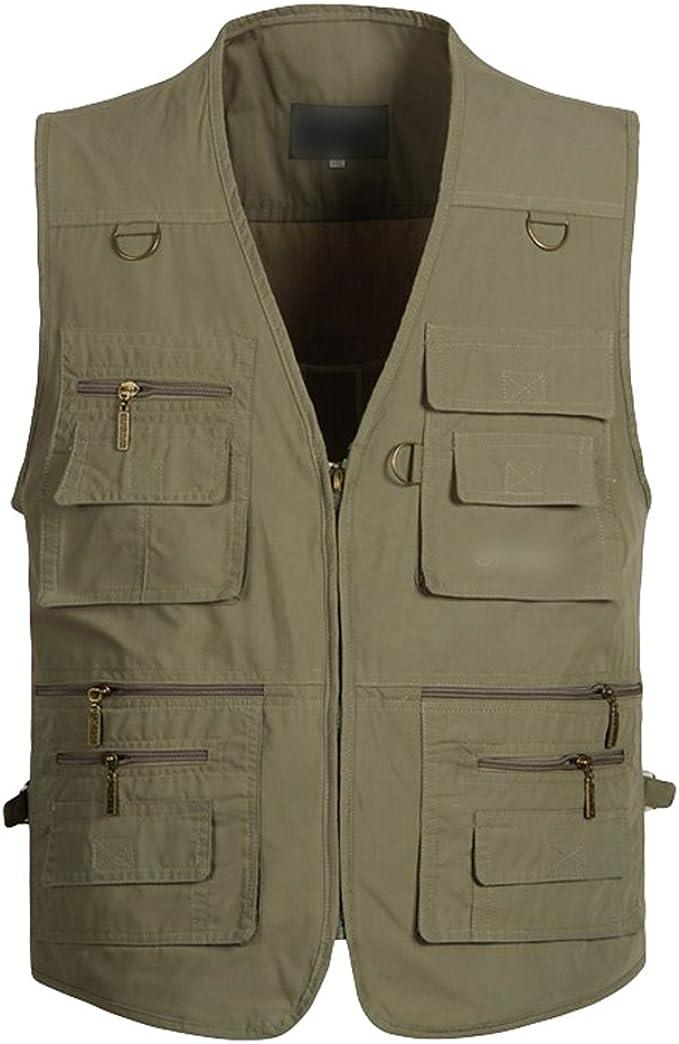 Herren Arbeitsweste Fotografie Anglerweste Jagd Gilet Outdoorweste Multi-Taschen