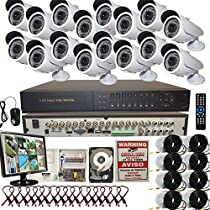 16 Channel Professional D1 Network DVR H.264 HDMI Security Home System 1TB+LCD