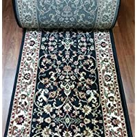 181638 - Rug Depot Bekmez Passion 726 Black Traditional Hall and Stair Runner - 26 Wide Hallway Rug Runner - Custom Sizing - Black Background - Choose Your Length - 26 x 17 feet