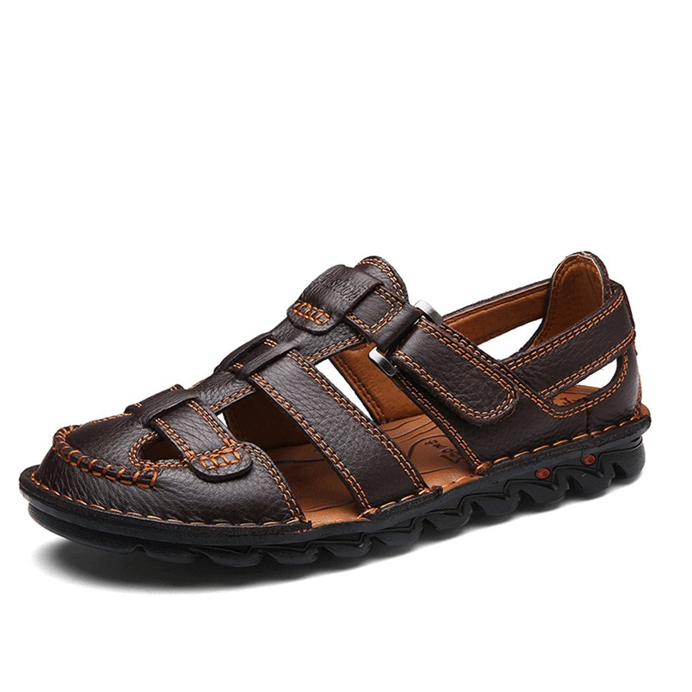 UPIShi Mens Casual Closed Toe Leather Sandals Outdoor Fisherman Adjustable Summer Shoes Brown 46
