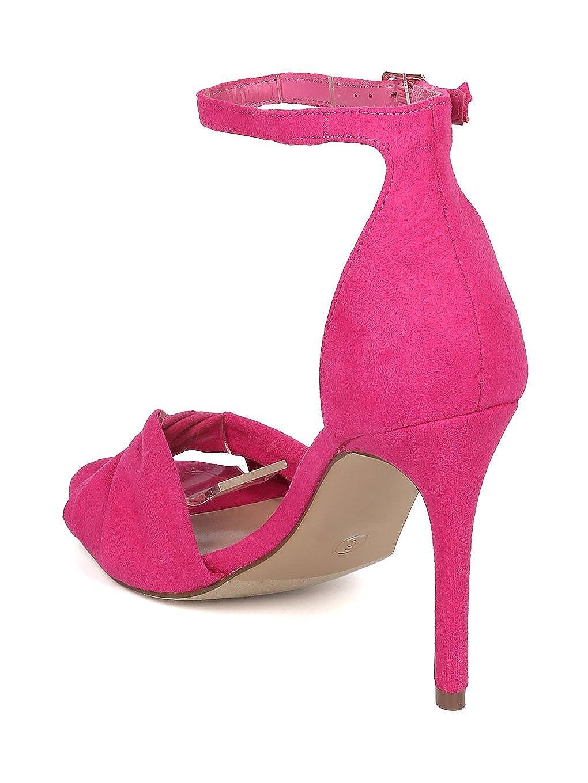 Breckelles Women Faux Suede Twisted Peep Toe Ankle Strap Stiletto Sandal GI66