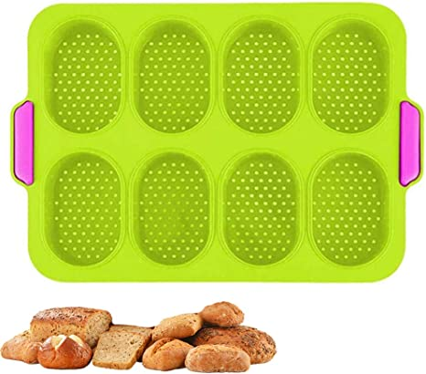 Silicone Mini Baguette Baking Tray Non-Stick Perforated Pan Loaf Baking Mould Bread Crisping Tray French Bread Breadstick Rolls Hamburger Molds Muffin Pan Kitchen Baking Tools 1 Pack- Dark Gray
