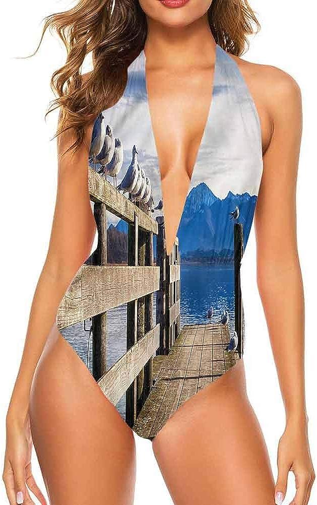 Adorise Strap Maillots de bain Paysage, River Bridge Town Arbres vous rend confortable/confiante Multi 27.