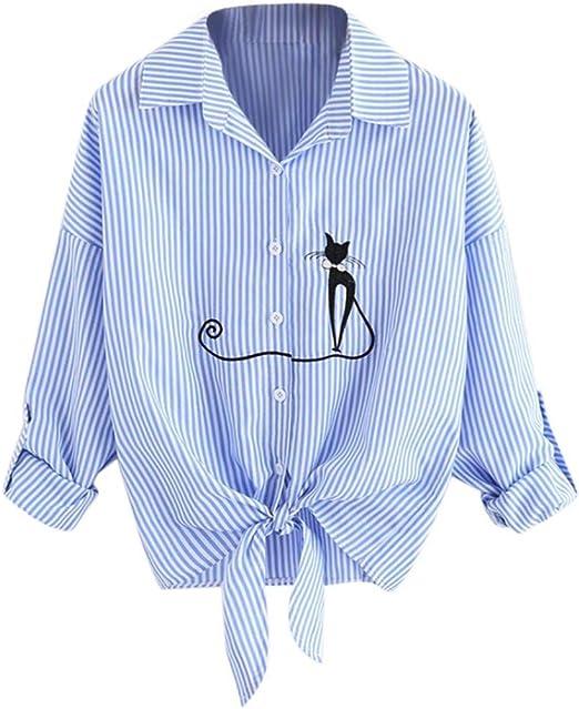 Heeecgoods Camisa Bordada para Mujer con Nudo con Lazo de Gato ...