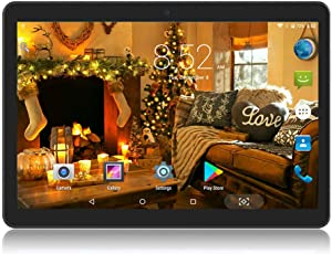 10 inch Android Tablet 4GB RAM 64GB ROM Octa Core with Dual Sim Card Slots - YELLYOUTH 3G Unlocked GSM Phone Tablets with WiFi Bluetooth GPS (Black)