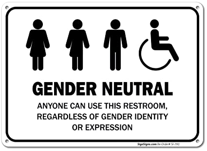 Unisex (Gender Neutral) Restroom Sign - Bathroom Sign is 10 X 7 Inches   Printed on Aluminum