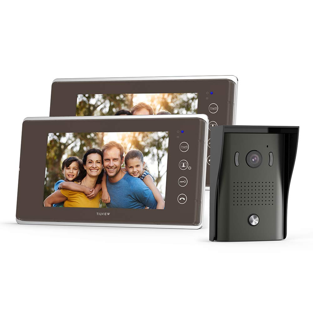 amazon com tilview video door phone doorbell kit wired videotilview video door phone doorbell kit wired video intercom system waterproof ip44 with night vision camera and 2 lcd monitor, 16 chimes and sd card storage