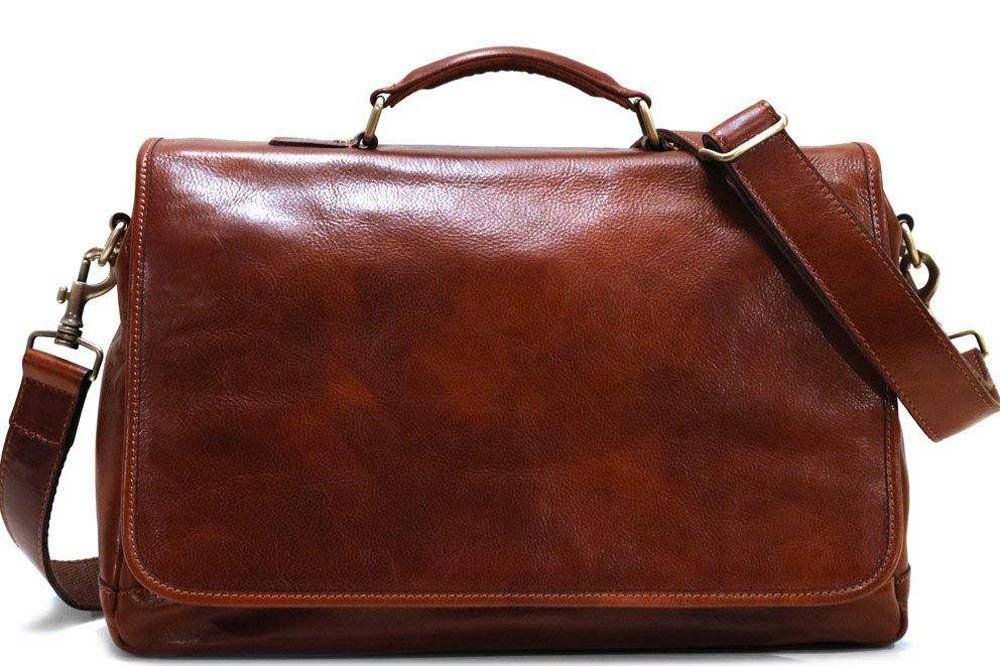 Floto Italian Leather Messenger Bag Briefcase Centro in Vecchio Brown