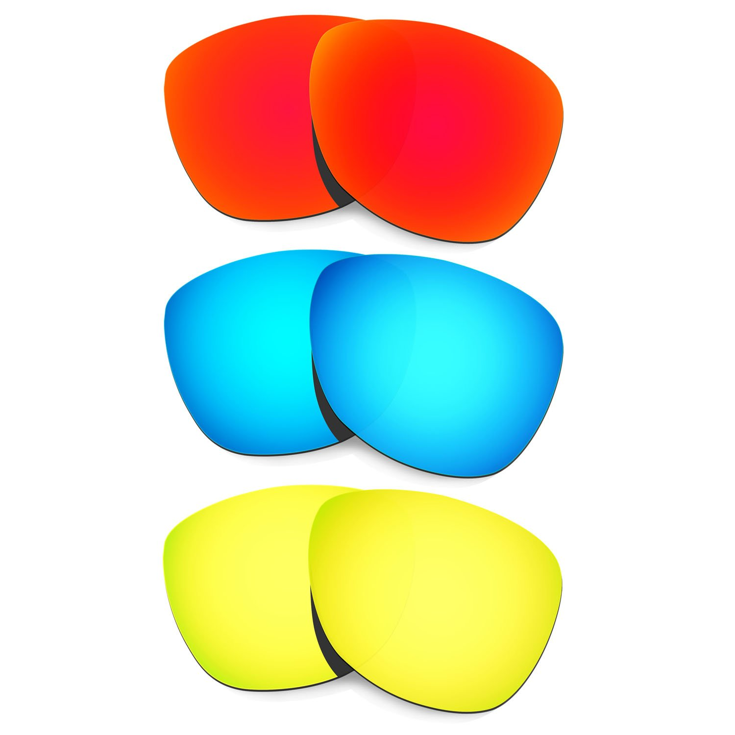 Hkuco Plus Mens Replacement Lenses For Oakley Frogskins Sunglasses Red/Blue/24K Gold Polarized