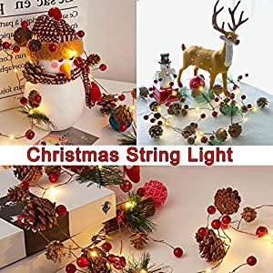 7 Foot Christmas String Lights with Pine Cone Red Pearl Bell Garland with Lights 20 LED Warm White Battery Operated Christmas Tree Decor Light for Christmas Holiday Indoor Table Party Decoration