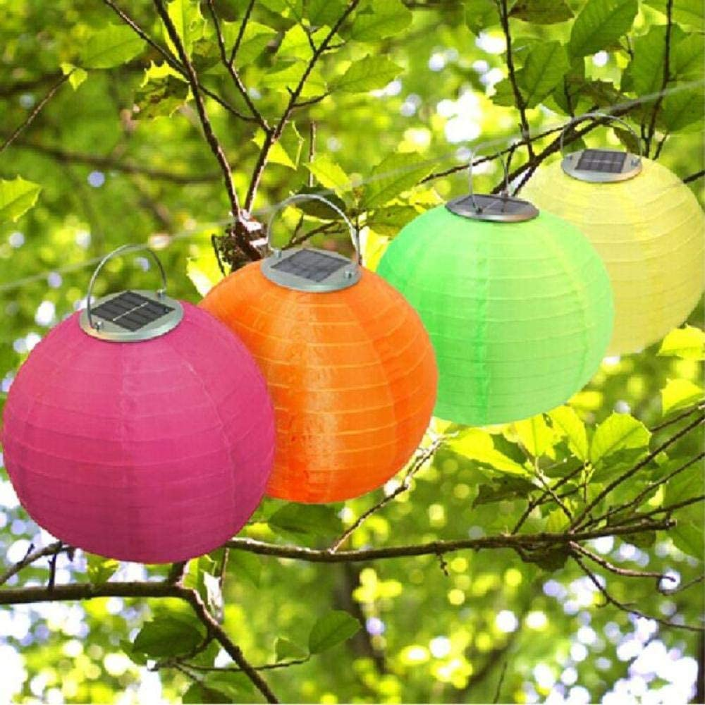 Zonne-lantaarns LED-licht Chinees papier Lichten bal Ronde papieren lantaarns Opknoping Bruiloft Verjaardagsfeestje Vakantie Decoratie-Rood Green