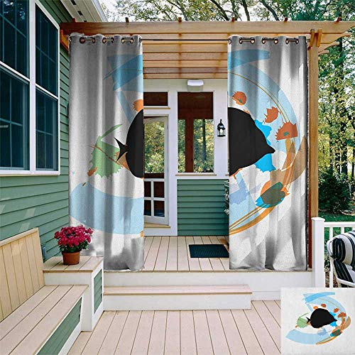 - leinuoyi Fish, Outdoor Curtain Waterproof, Silhouette of a Discus Cichlid in a Partly Illustrated Bowl Cartoon in Pastel Colors, Set for Patio Waterproof W72 x L108 Inch Multicolor