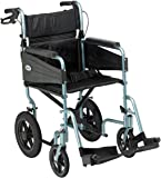 Days Escape Lite Aluminium Wheelchair, Lightweight and Foldable Frame, Attendant-Propelled Wheelchair, Portable Transit Travel Chair, Removable Footrests, Standard, Silver Blue