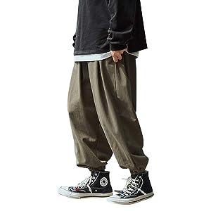 KOGARASI ワイドパンツ サルエルパンツ メンズ 袴パンツ ゆるゆる ジョガーパンツ ロング ズボン 無地 ビッグ ウェストゴム紐付き ブラック グリーン カーキ ヒップポップ オールシーズン