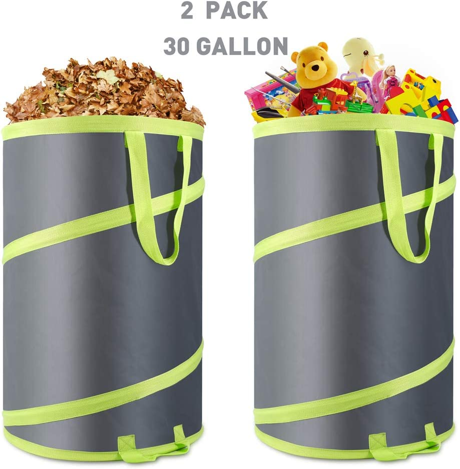 Hortem 2 Pack Leaf Bags Reusable, 30 Gallon Pop Up Garden Bag, Yard Collapsible Trash Can for Camping with Wind Band