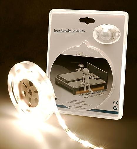 LED Universo LED cama iluminación Blanco Cálido para una cama individual con sensor de movimiento y