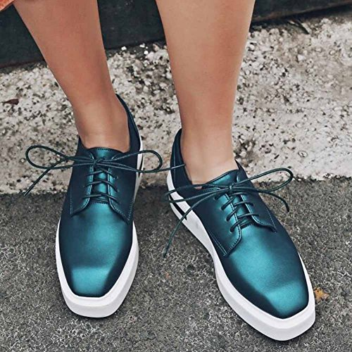 Up Shoes Lace Square SHOWHOW Mid Trendy Womens Platform Heel Toe Wedge Green Sneakers SwPXwxTqI
