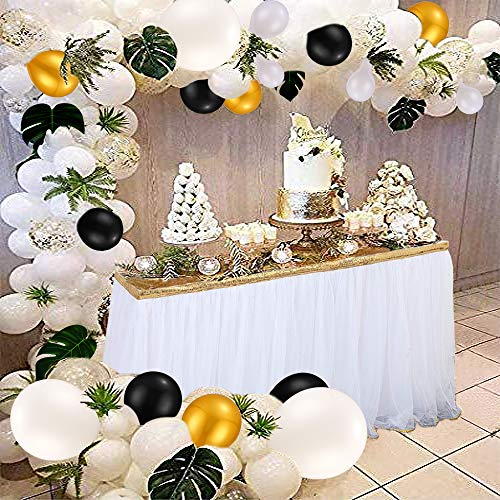Balloon Arch Garland with 100 pcs White & Gold & Black Latex Balloons Gold Confetti Balloons,24 Green Palm Leaves,Balloon Decoration Strip for Wedding Birthday Baby Shower Graduation Party Decorations