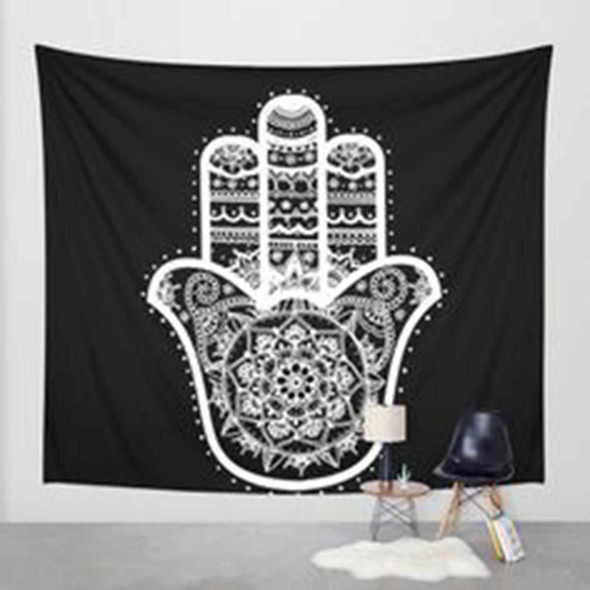 Shukqueen Tapestry, Black Flower Mandala Wall Hanging Tapestry Dorm Decor (59H x 59W, Black Flower-1)