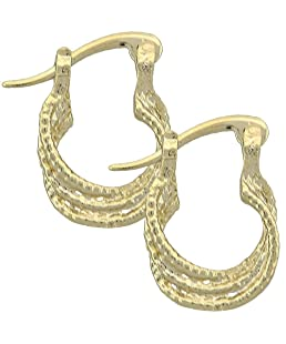 Yellow Gold-Tone Ladies Diamond-Cut Design and Children Hoop Earrings (17mm x 3mm)