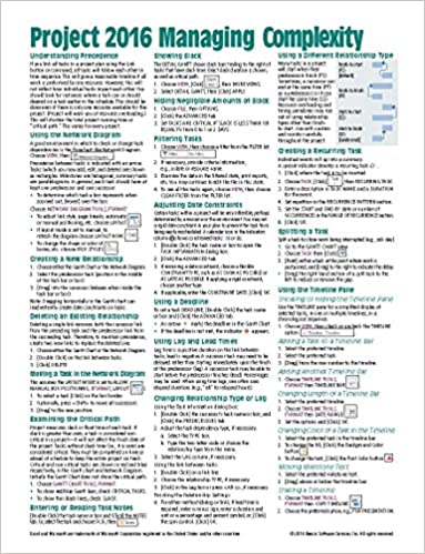 Microsoft Project 2016 Quick Reference Guide Managing Complexity ...