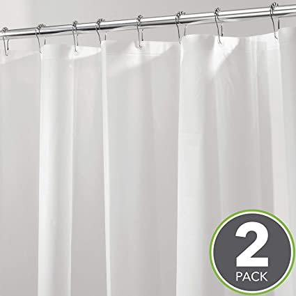 MDesign Long Waterproof Mold Mildew Resistant Heavy Duty PEVA Shower Curtain Liner For