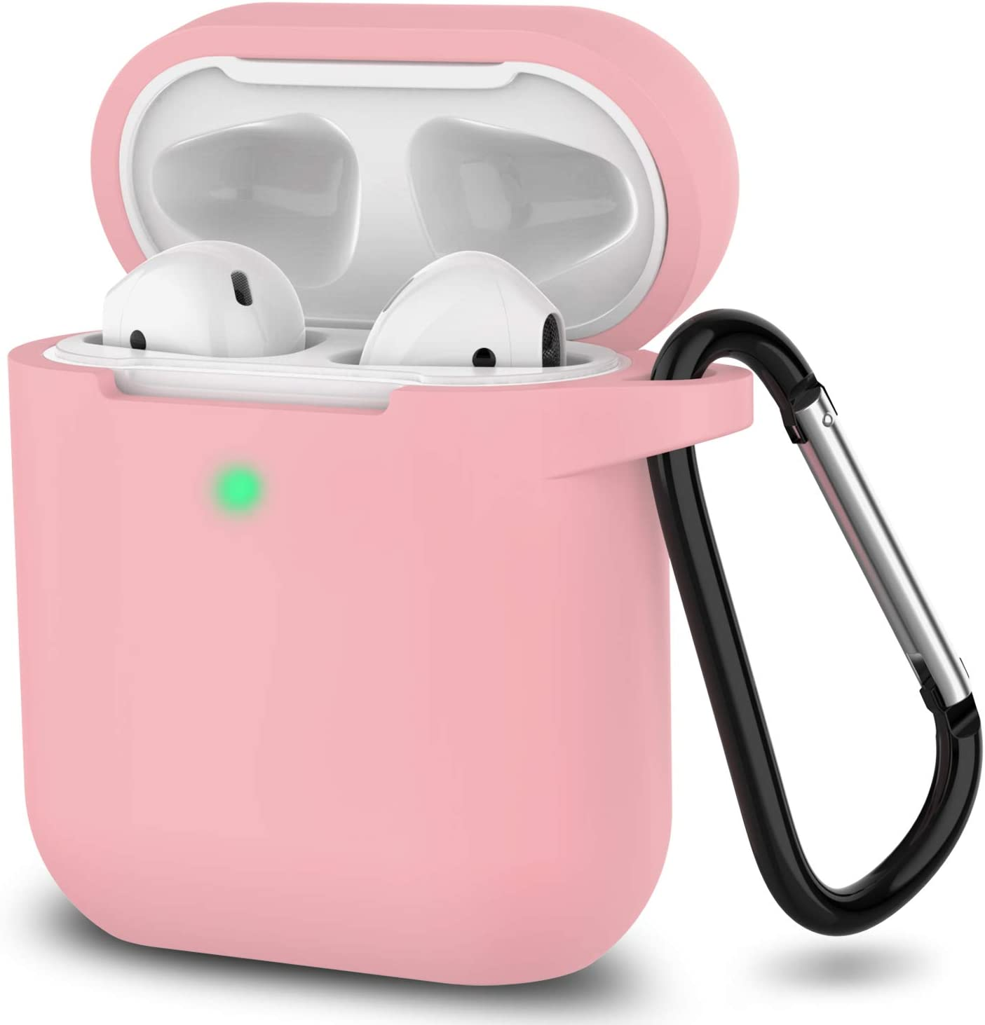 AirPods Case, Full Protective Silicone AirPods Accessories Cover Compatible with Apple AirPods 1&2 Wireless and Wired Charging Case(Front LED Visible),Pink
