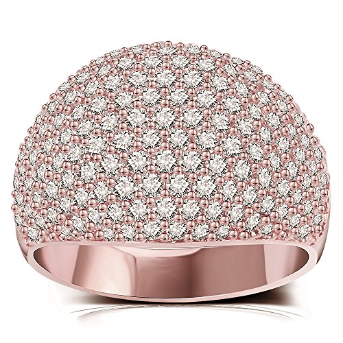 White Diamond Accent Dome Ring - Cluster Cubic Zirconia Paved Statement Wide Bands Size 5-11 (Rose Gold, (White Gold Kids Ring)