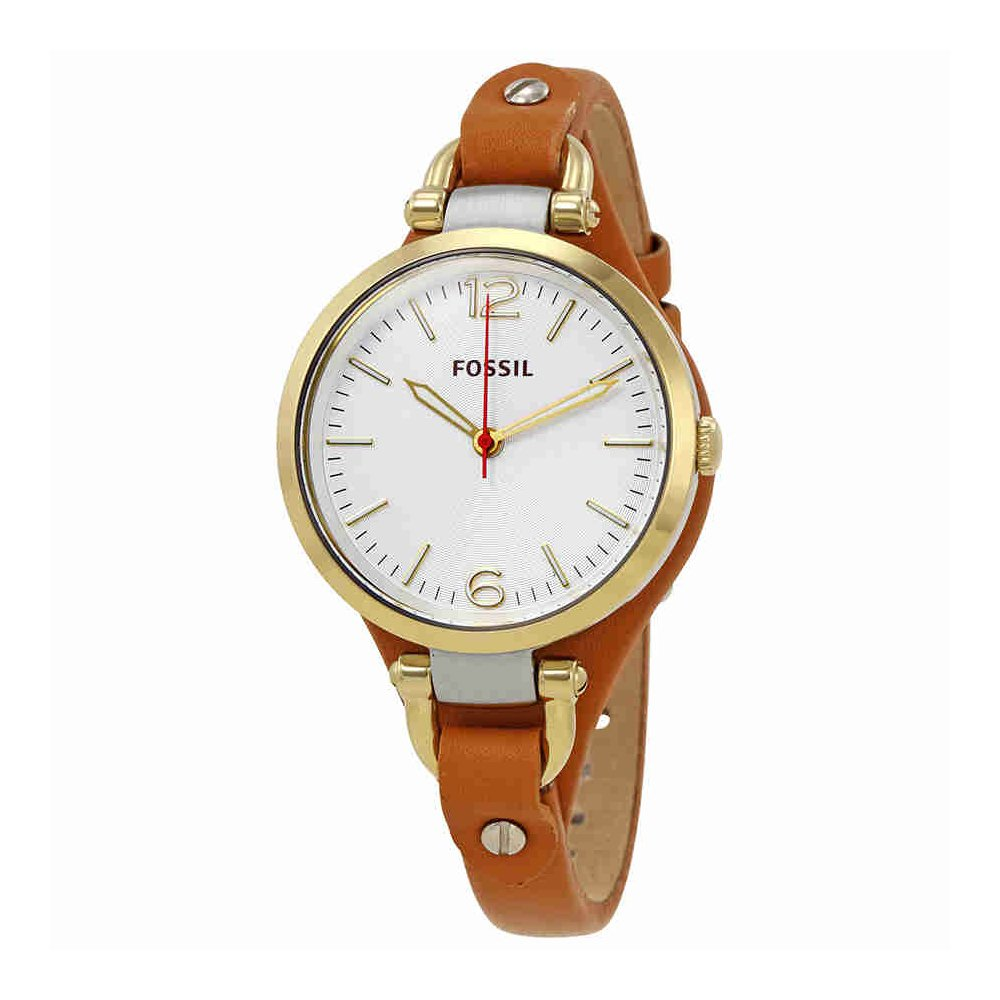 Fossil Women's ES3565''Georgia'' Gold-Tone Stainless Steel Watch with Brown Leather Band
