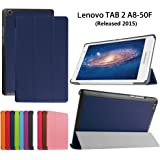 Lenovo Tab 2 A8-50 Cases and Covers,PU Leather and Hard PC Flip Cover Stand Case for Lenovo Tab 2 A8-50 8-Inch Tablet Protective Skin Pouch Protector,Dark blue