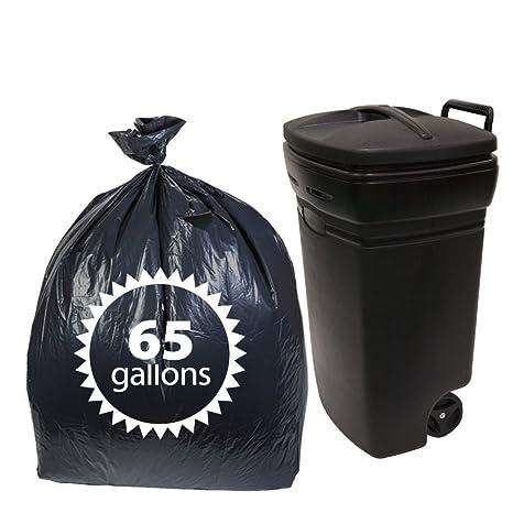 Negro Plástico 65 L bolsas de basura por primode - 50 Count ...