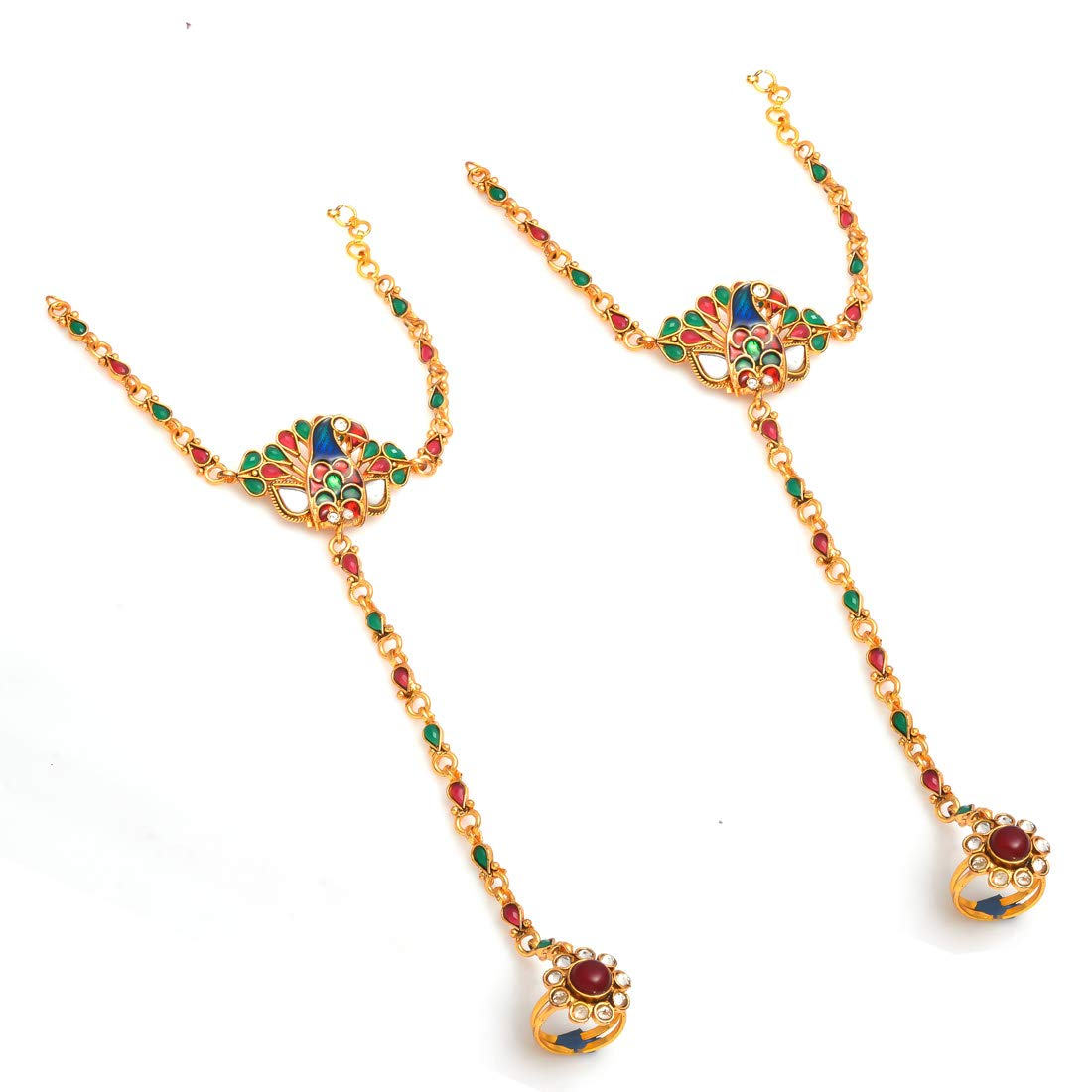 Jewar Mandi Hath Phool Bracelet Peacock Design Multi-Gemstones Jewelry 8074
