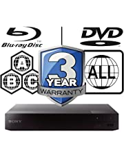 Sony BDP-S3700 Smart WiFi ICOS Multi Region All Zone Code Free Blu-ray Player. Blu-ray Zones A, B and C, DVD Regions 1-8. Full HD 1080p DLNA YouTube, Netflix etc HDMI and Coaxial Audio Output