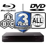 2015 SONY BDP-S1500 Lecteur Multi Zone Region Code Free Blu Ray - DVD - CD Player - PAL/NTSC - Worldwide Voltage 100~240V - 1 USB, 1 HDMI, 1 COAX, 1 ETHERNET Connections + 6 Feet HDMI Cable Included.