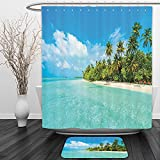 Vipsung Shower Curtain And Ground MatOcean Decor Collection Tropical Island Photo with Sandy Beach and Palm Tree Nature Exotic Holiday Theme Turquoise Green WhiteShower Curtain Set with Bath Mats Rugs