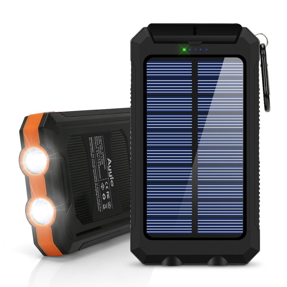 Ayyie Solar Charger,10000mAh Solar Power Bank Portable External Backup Battery Pack Dual USB Solar Phone Charger with 2LED Light Carabiner and Compass for Your Smartphones (Orange New)