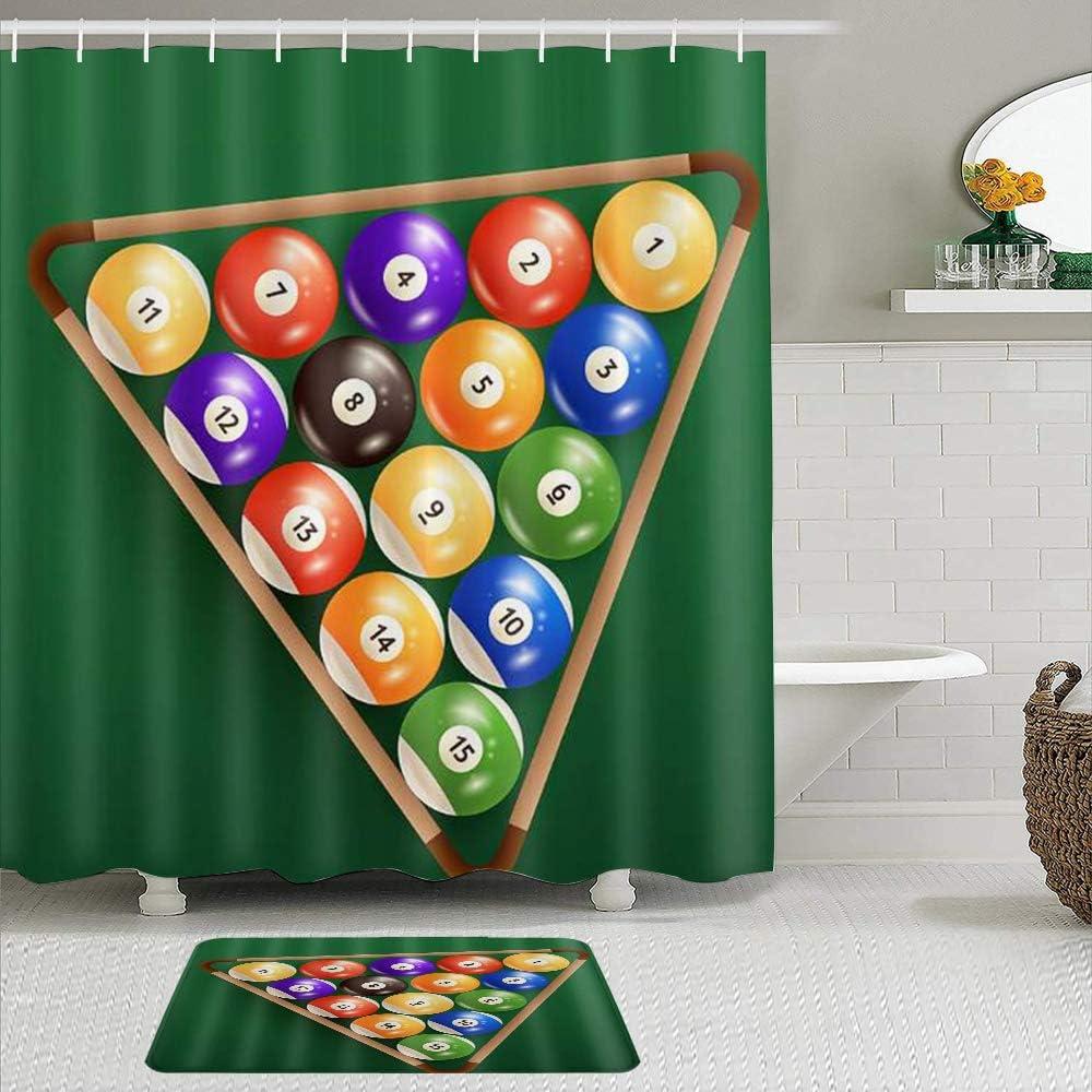 Juegos de Cortinas de baño con alfombras Antideslizantes, Bolas De Billar Billar Ilustración Fondo Verde Deporte Temático,con 12 Ganchos: Amazon.es: Hogar