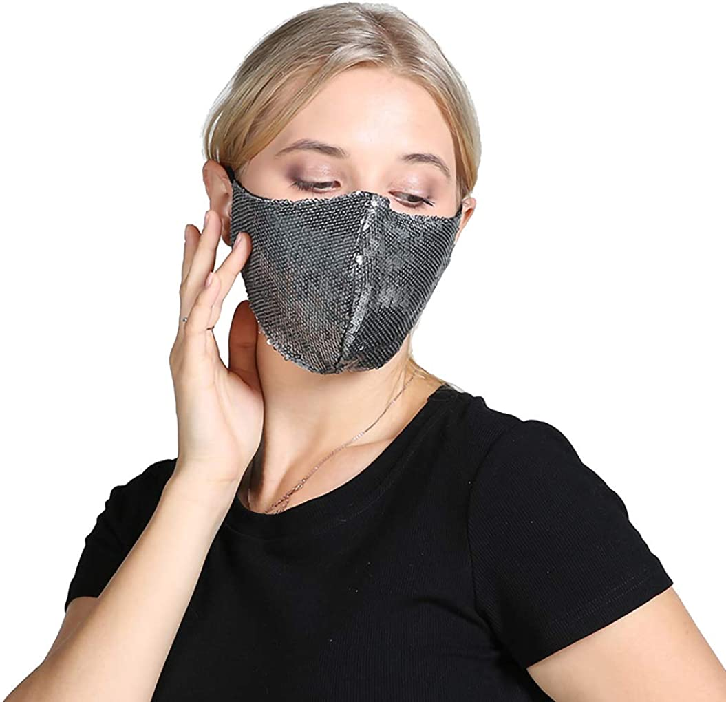 IIOGO Reusable Double Layer Breathable Lace/Sequin Cotton Cold mask New