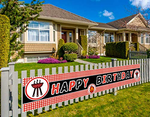 Colormoon Large Picnic Birthday Banner, BBQ Birthday Party Banner Decorations, Summer Out Door Party Banner (9.8 x 1.5 feet)