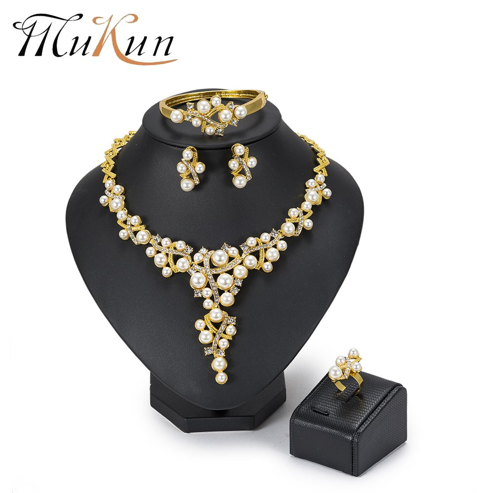 MUKUN Fashion Dubai Bridal Jewelry Sets-Women 18k Gold Plated Earrings Necklace Set for Gift Wedding (Crystal Wedding Gold Plated Jewelry Sets)