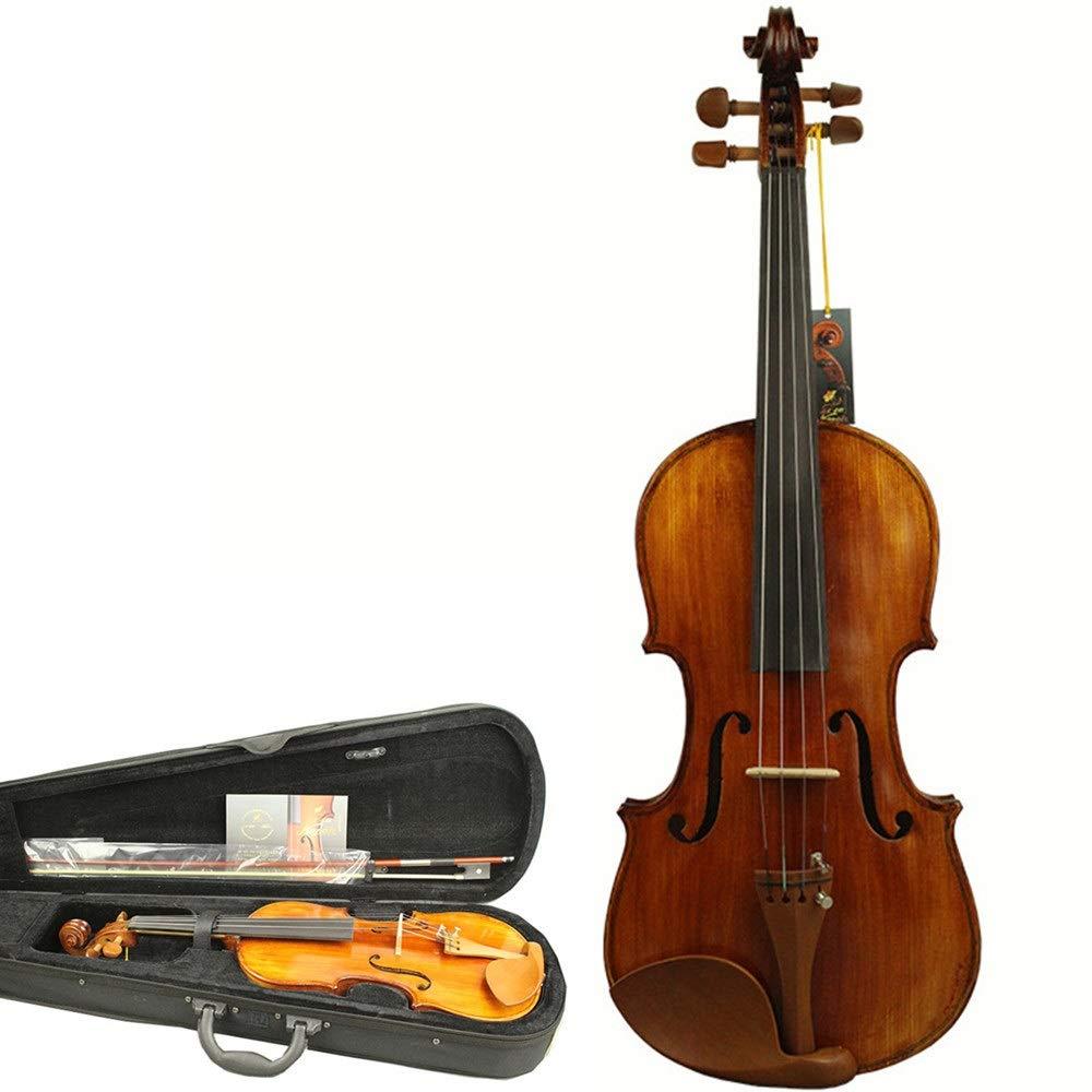 レトロ4/4フルサイズプロフェッショナルグレードバイオリン手作りソリッドスプルースウッドフィドルキット付き弓ハードケースマット仕上げ学生初心者アコースティックバイオリン付きアクセサリーチンレストブリッジロジン (色 : Wood, サイズ : 4/4) 43559 Wood B07SBSKFYM