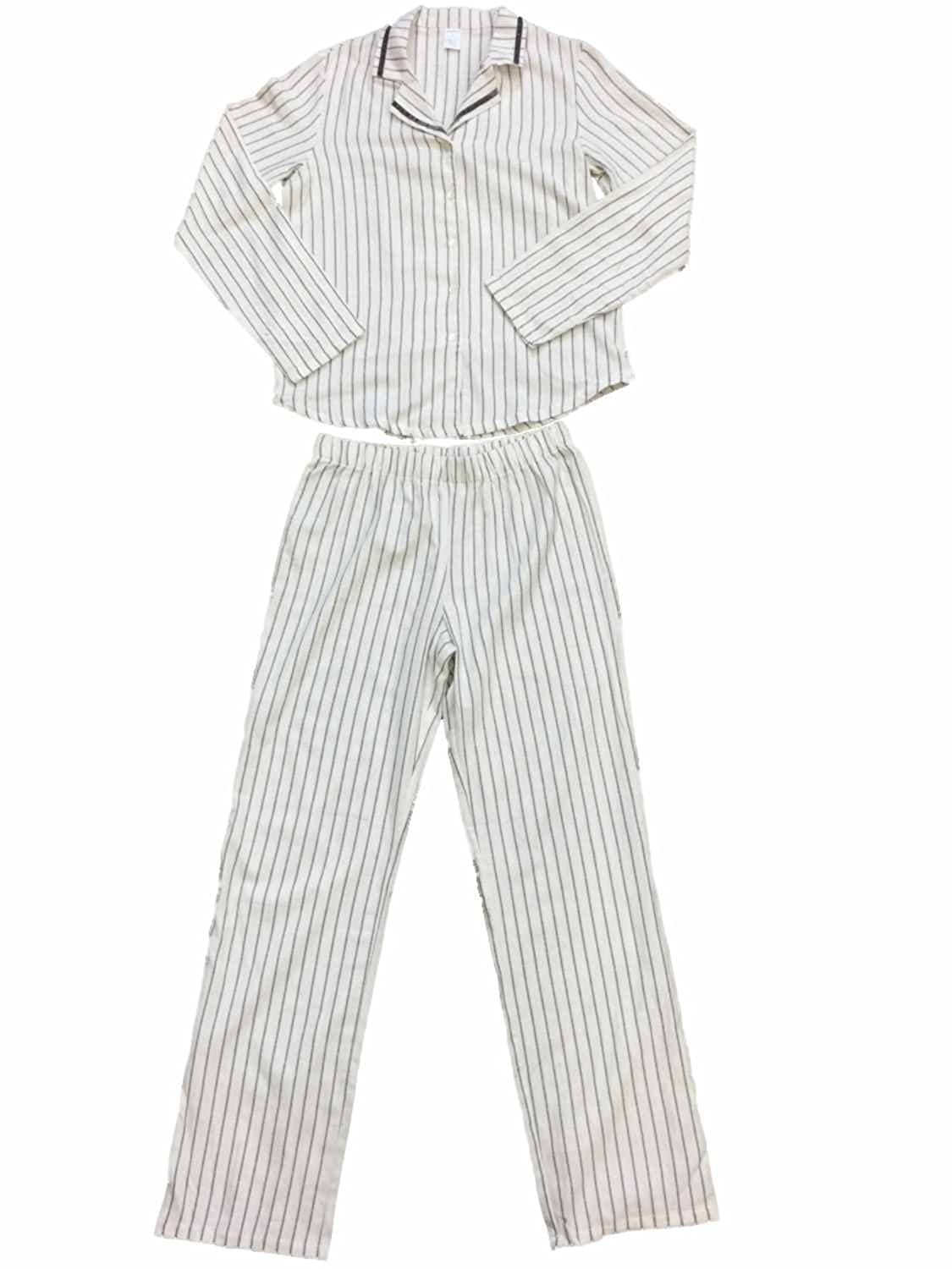 2c56f31688 Womens White Gray   Silver Vertical Stripes Flannel Pajama Sleep Set at  Amazon Women s Clothing store