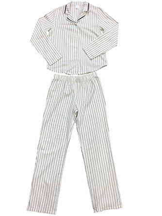 fbaddf97dd Womens White Gray   Silver Vertical Stripes Flannel Pajama Sleep Set ...