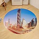Gzhihine Custom round floor mat Urban Modern Subway Line in Dubai Tracks Skyscrapers Futuristic View Commercial Bedroom Living Room Dorm Light Brown Blue White
