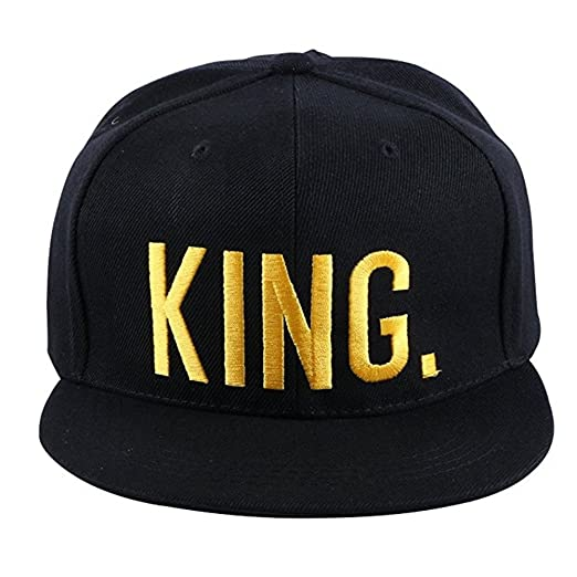 cc35cf7f283 KING and QUEEN Cap Flat Embroidered Couples Hip-Hop Hats Snapback Caps (KING )