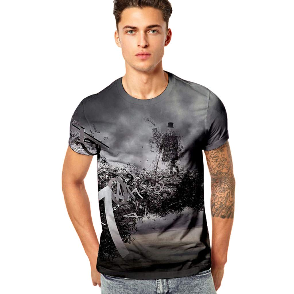 ¡Gran promoción!Hombres Camisetas Rovinci Moda de Verano Casual Divertido Impresión 3D Gimnasio Elástico Manga Corta Tops Blusas
