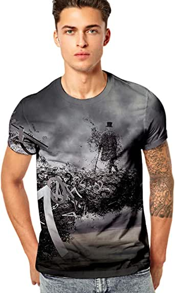 YOcheerful Mens Short Sleeve Shirt Men Trendy Rap Tee Funny 3D Print Fitness Top Blouse Travel Hiking Top Bar Tee