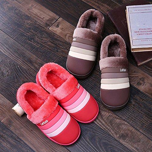 Gli uomini e le donne di cotone pacchetto pantofole con belle coppie di spessore maggiorato di velluto capelli caldo trascinato sulla scarpe impermeabili di cotone femmina pantofole ,40-41 (per tempo
