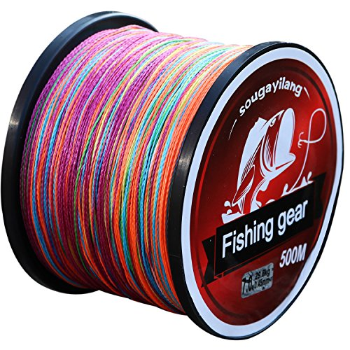 - Sougayilang 500m/547Yards 4 Strands 12lb-72lb Multifilament Pe Superbraid and Braided Fishing Line (Grey Yellow Black Green Multicolor)